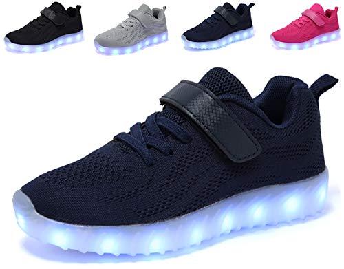 nishiguang Kinder Jungen Mädchen LED Leuchten Schuhe USB Lade Blinken Turnschuhe Trainer Blau26 -