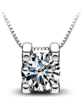 Damen-Kette mit Anhänger Kristall 925 Sterling Silber Zirkonia Kristall by bravetzx