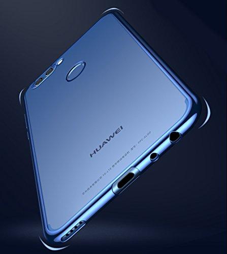 Huawei nova 2 plus Hülle, MSVII® Durchsichtig Weich TPU Silikon Bumper Hülle Schutzhülle Case Und Displayschutzfolie für Huawei nova 2 plus - Schwarz JY60024 Blau