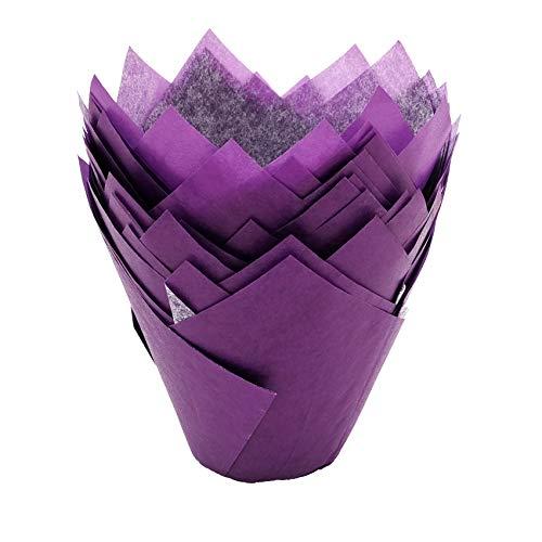 ake Muffin Papierförmchen in Tulpenform Backförmchen Backform - Lila ()