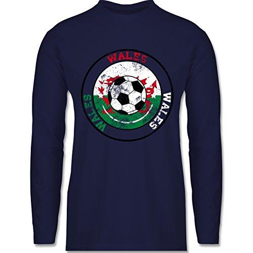 Shirtracer Fußball - Wales Kreis & Fußball Vintage - Herren Langarmshirt Navy Blau