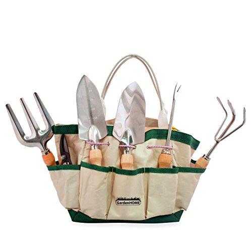 (7in1) ORIGINAL GardenHOME GARTEN WERKZEUGSET, GRATIS TRAGETASCHE, SEHR ROBUST, IDEAL für den GARTEN, SET aus Pflanzkelle, Blumenkelle, Winkel-Harke, Gartenschere, Gabel u. Ausstecher