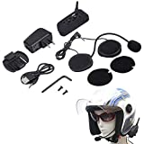 V6 1200m Bluetooth Intercom für Motorrad Helm Headset Interphone,Lange Reichweite-1200 Meter Gegensprechanlage, Bluetooth-Interphone-Kits für Helm Motorrad, Schneemobil, Ski, ATV usw.