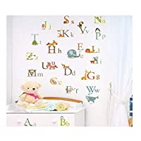 Alphabet Letters Wall Stickers A To Z Animals Decor Decal Large For Baby Boys Girls Bedroom Or Childrens Playroom, Kids Stickarounds Transparent Removable Repositionable