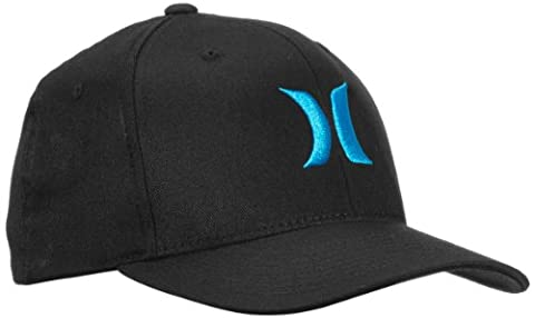 &Hurley One Only Men's Baseball CAP Flexfit Black Black/Cyan (Ricamato Flex Hat Fit)