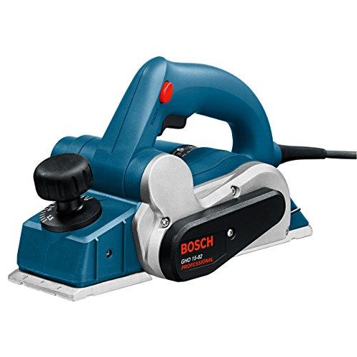 Bosch Professional GHO 15-82, 600 W Nennaufnahmeleistung, 82 mm Hobelbreite, 0 – 1,5 mm Spandicke einstellbar, Parallelanschlag, Staubbeutel