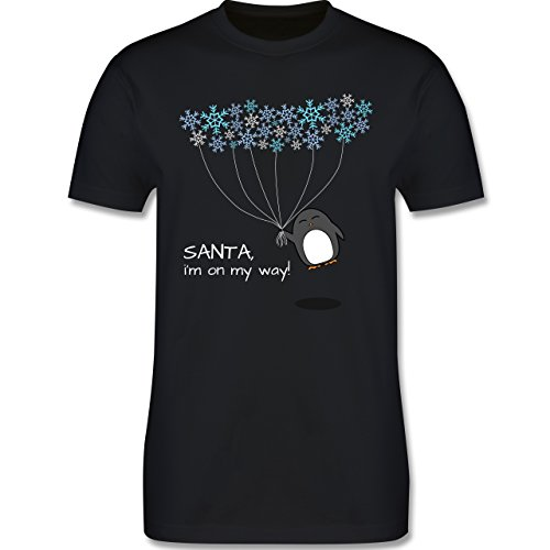 Weihnachten - Santa, i'm on my way! - Snowflakes - Pinguin - Winter - L190 - Premium Männer Herren T-Shirt mit Rundhalsausschnitt Schwarz