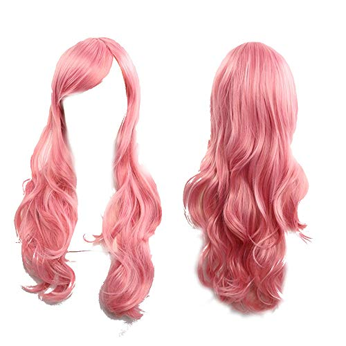 (AMUSTER Damenperücken, gewelltem, Lang Wave Curly Cosplay Perücke Lolita Style Anime Kostüm Perücken Damen Perücke Kostüm Bunt Langhaar 70 cm Lockig)