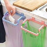 Zollyss 2 Pcs Kitchen Plastic Garbage Bag Rack Holder Cupboard Door Back Hanging Trash Rubbish Bag Storage Shelf Tools