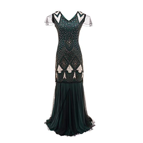 Beikoard Frauen 1920 s Perlen Pailletten Gatsby Flapper Kleider Lange Vintage Frauen Kleider Funkelnden Sehen-Durch Sexy Chic Club Kleider