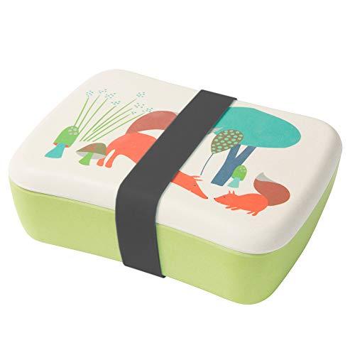 BIOZOYG Kinder Bento Lunchbox aus Bambus I Brotdose mit extra Snack Box I Mädchen und Junge Motiv Brotbox - Fuchs für Kindergarten I Lunch Set to Go BPA frei und 100% lebensmittelecht