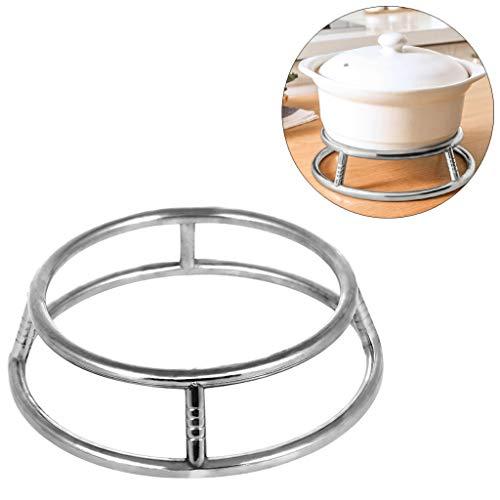VNEIRW Pot Organizer Rack Rund Edelstahl Topfregal Regal Küchenregal, Feuertopf Untersetzer, Topfgestell, Küchen Zubehör - Isolieren Sie die Hitze (B)