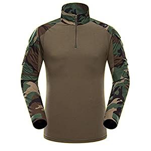 QMFIVE Tactical Airsoft Men's Woodland Camo Long Sleeve BDU Combat T-Shirt With Military Style from QMFIVE