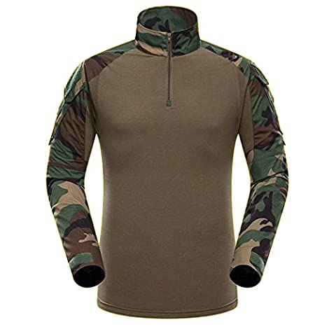 Tactique T-shirt,QMFIVE Combat Woodland T-shirt Militaire Camouflage manches longues BDU For Hommes Airsoft et Sports De plein air(M)