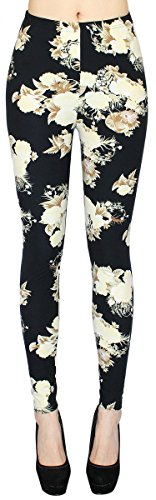 Blumen Muster Damen Leggings Treggings Jeggings mit Flower Print in One Size Gr. 36-42 - JL012 (One Size 36-42) (One Size 36-42, JL012)