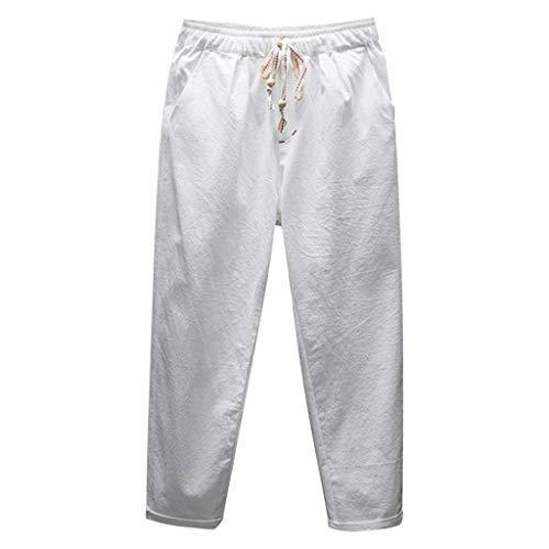 Jogginghose Herren Baumwolle Leinenhose GreatestPAK Leinn Cropped Hosen neu Sommer Mode Freizeithose,Weiß,L Plaid Cropped Pants