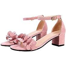 BeautyTop Sandali Estivi da Donna Elegante Ragazze Estate Sandali Fibbia di  Fiori Scarpe con Tacco Alto 60d5b252a59