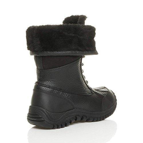 Femmes talon bas fourrure lacets hiver neige bottes mollet cheville pointure Noir