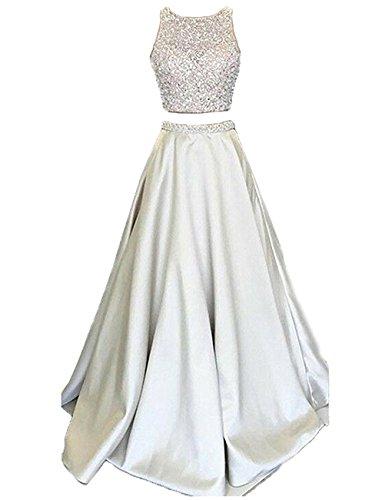 Callmelady Satin Zwei Stück Ballkleider Lang Abendkleider Damen Abiballkleider (Silber, EU34)