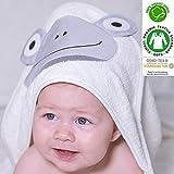 Orgánico Bebé Toalla con capucha 100% con certificado, apto para recién nacido a 2años de edad, tamaño 75cm x 75cm, 400g/m² de rizo, suprised rana