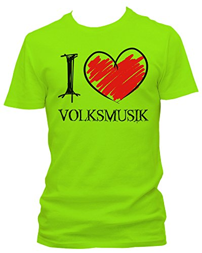 NEON Herren T-Shirt I Love Volksmusik Fun NEON, Größe:M;Farbe:neon grün