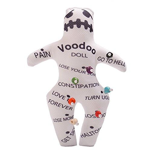 GRACEART personalisierbar Revenge Voodoo Puppe mit Totenkopf Pins weiß