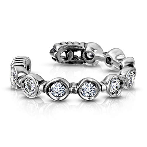beyoutifulthings Ohr-klemme ZIRKONIA REIHE clear Ohringe Ohr-ringe Ohr-clip Fake-Piercing Messing Silber