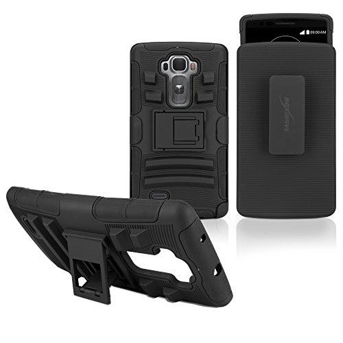 LG G Flex 2, BoxWave® [Dual + Max Shell Cover & Gürtelclip ausklappbarem Ständer für LG G Flex 2-Pitch Black