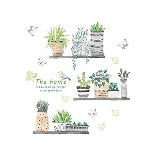 ickersgarden Blume Pflanze Schmetterling Wandaufkleber 3D Lebendige Wohnkultur Wohnzimmer Küche Aufkleber Wandbild Kunst Dekoration 60X65 Cm ()