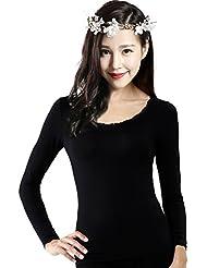 XMQC*La Sra. ropa interior térmica fina franja de puntillas para otoño Yi solo T-shirts son negros, L, negro ,XL