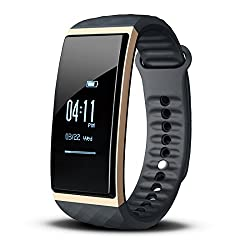Fitness Bracelet With Heart Rate Monitor, Cubot S1 Activity Tracker With Music Controller, 0.96''oled (2.4cm) Waterproof Ip65 Touch Screen, Pedometer, Calorie Counter, Fitness Record, Distance, Sleep Analysis, Sms Calls Reminder, Compatible With Ios 8.0 Or Higher & Android 4.3 Or Higher (Gold)