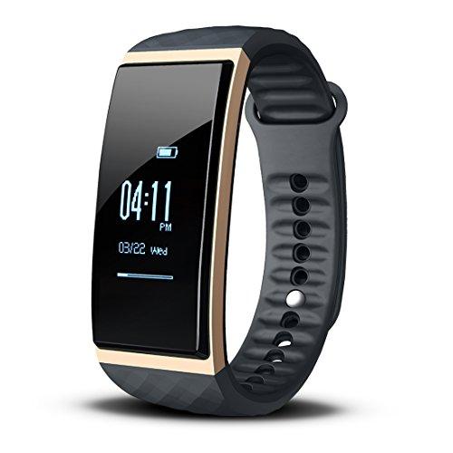 Fitness Armband mit Pulsmesser, Cubot S1 Activity Tracker mit Musikcontroller, 0.96''OLED (2.4cm) Wasserdicht IP65 Touch Bildschirm, Schrittzähler, Kalorienzähler, Fitnessaufzeichnung, Entfernung, Schlafanalyse, SMS Anrufe Reminder, kompatibel mit iOS 8.0 oder höher und Android 4.3 oder höher (Gold)