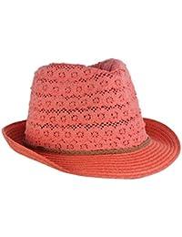 Chapeau Fedora C.C en dentelle de coton pour fillette à bande brune tressée