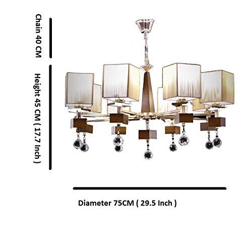 Moderne Kronleuchter Beleuchtung lustres de cristal Holz Lichter Dekoration Luxus Kerze Leuchter-Anhänger Wohnzimmer Indoor Lampe, Silber, 8 Arm-Lichter, 220-240V, warmes Weiß -