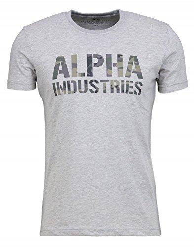 Alpha Industries Herren Oberteile/T-Shirt Camo Print grau S (T-shirt Logo Grau Army)