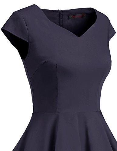 Dresstells Version 6.0 Vintage 1950's robe de soirée cocktail rétro style années 50 manches courtes Bleu Marine