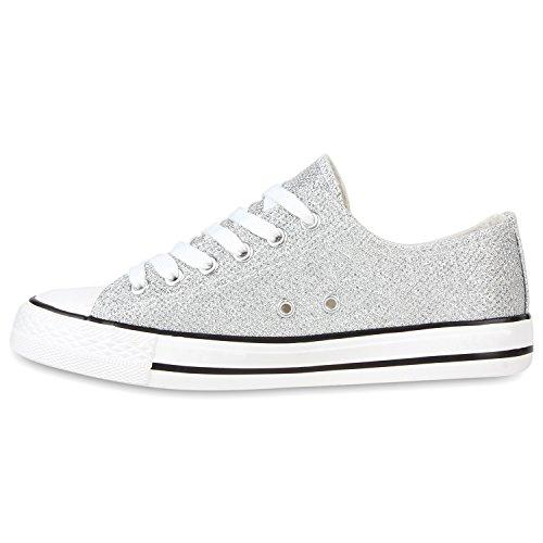 Damen Schuhe Sneakers   Turnschuhe Freizeitschuhe   Low Sneaker   Übergrößen   Prints Glitzer Denim Silber vSB12CSS