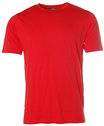 Kitaro Herren Kurzarm Basic T-Shirt Rundhals Rot