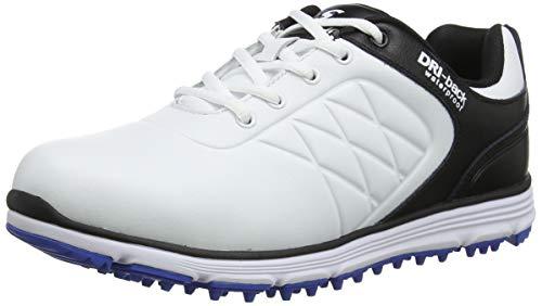 Stuburt SBSHU1109 - Scarpe da Golf da Uomo Evolve Tour Dri-Back, Impermeabili, Senza Borchie, Colore: Bianco/Storm, Taglia 44