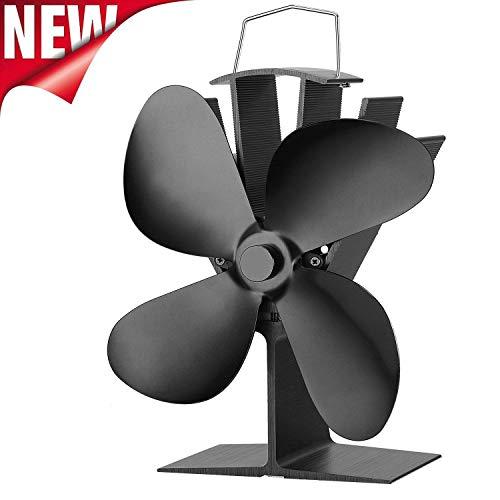 WATOTGAFER Kaminventilator Thermoelektrisch Stromloser Ventilator für Kamin Holzöfen Öfen - Lüfter mit 4 Blättern