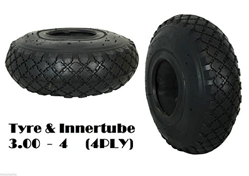 Trolley Tyre 3.00 - 4 (260 x 85) with INNER TUBE (4 PLY) Sack Truck Bent Valve Test