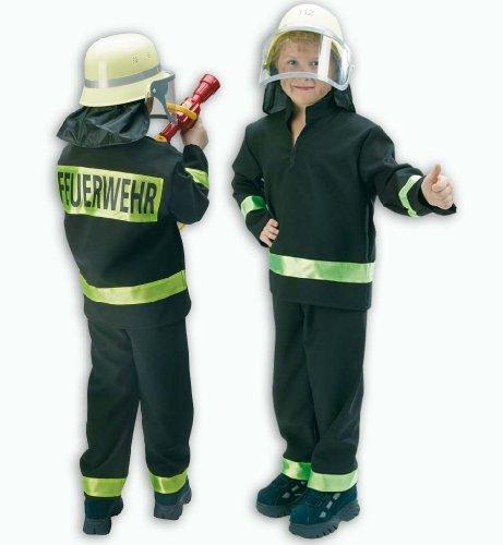 r- Kostüm Feuerwehrmann schwarz 2tlg., Feuerwehr: Größe: 104 (Feuerwehrmann-hüte Für Erwachsene)
