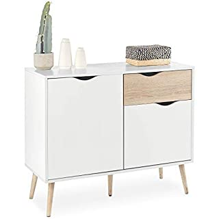 VonHaus Sideboard with Cupboard and Drawer combination - Scandinavian Nordic Style - White and Light Oak Effect with Tapered Legs - Modern, Contemporary Lounge, Dining or Living Room Furniture
