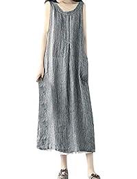 HCFKJ Robe De Soiree Femmes Oversize Poches Coton Et Lin Loose Stripe Robe  Baggy fc664b294f16
