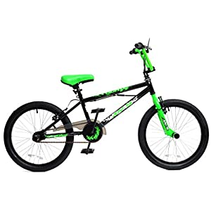 "41OjNI1ojnL. SS300  - XN Unisex-Youth 9 Boys Kids Freestyle BMX Bike, Black Green with Gyro, 20"" Wheel"