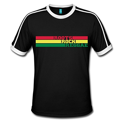 Spreadshirt Roots Rock Reggae Musik Rastafari Männer Retro-T-Shirt, L, Schwarz/Weiß