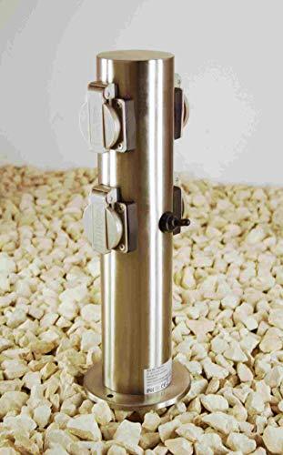 Steckdosensäule Edelstahl für Außen 4-fach IP44 mit Schalter und Kinderschutz