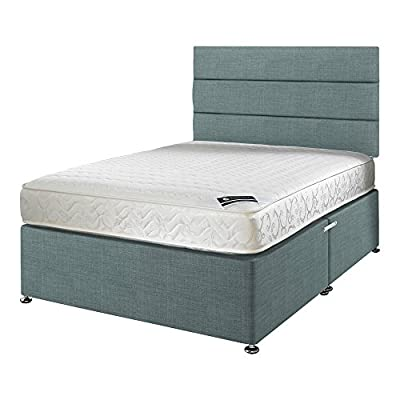 Happy Beds Membound Micro Quilted Bonnell Spring Memory Foam Mattress with Fabric Divan Base/Various Drawer Options/Lined Headboard