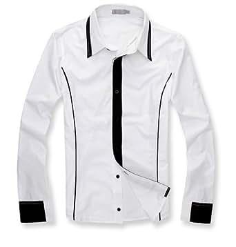 Keral New Men's Slim Casual Stylish Dress Shirts able Long-sleeved Shirt White XXL