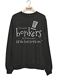 Batch1 'You're Entirely Bonkers' Alice Through The Looking Glass Women's Sweatshirt Jumper - High Quality Print, Super Soft Lightweight Heather Fabric, Machine Washable